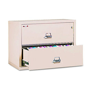 Fireproof Lateral File Cabinet, 2 Drawers, 27.75n H x 37.5in W x 22.13in D, Made in The USA