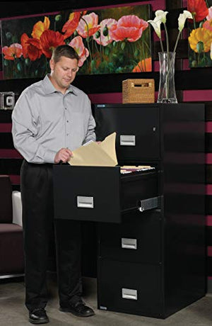 Phoenix Vertical 25 inch 4-Drawer Legal Fireproof File Cabinet with Water Seal - Black