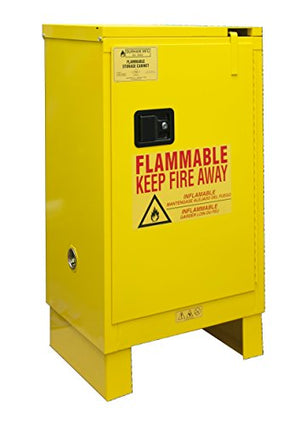 "Durham 1012SL-50 Flammable Safety Cabinet with 1 Self Closing Door and Legs, 23"" x 18"" x 42-3/8"", 12 gal Capacity, Yellow"