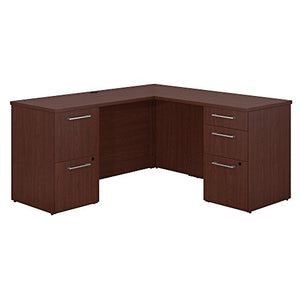Bush Business Furniture 300 Series 60W x 22D L Shaped Harvest Cherry Office Desk with 2 and 3 Drawer Pedestals and 36W Return