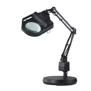 "Electrix 7428 BLACK Magnifier Lamp, Halogen, 3-Diopter, Weighted Base Mounting, 45"" Reach, 100W, 1600 Raw Lumens"