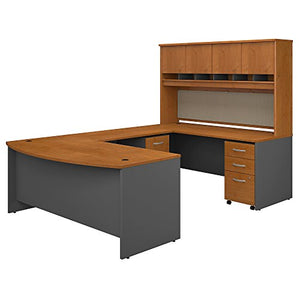 Bush Business Furniture 72W Bow Front U Shaped Desk with Hutch and Storage in Natural Cherry