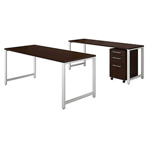 Bush Business Furniture 400 Series 72W x 30D Table Desk with Credenza and 3 Drawer Mobile File Cabinet in Mocha Cherry