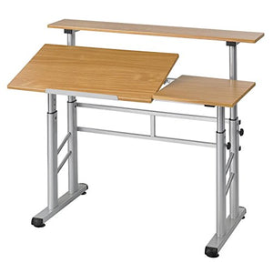 Split-Level Adjustable Drafting Table, Metal Base and Wooden Top + Expert Guide