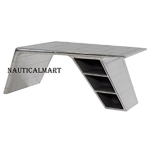 Vintage Aluminium Elegant Aviator Wings Desk Table Silver Metal