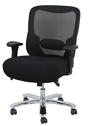 Essentials Big and Tall Executive Chair - Fabric and Mesh Office Chair with Adjustable Arms, Black (ESS-200-BLK)