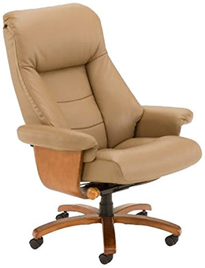 Mac Motion Oslo Mandal Office Desk Chair Recliner in Sand Leather and Walnut