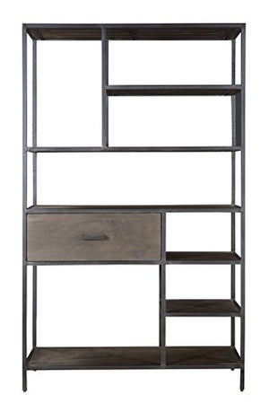 Treasure Trove One Drawer Bookcase, Brown and Black