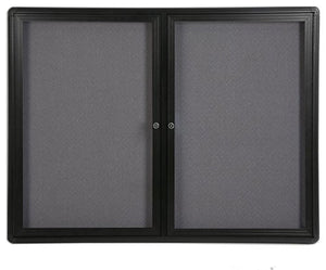 "4' x 3' Enclosed Bulletin Board with 2 Swing-Open Locking Doors, 48"" x 36"" Gray Fabric Notice Board for Indoor Use, Aluminum (Black Frame)"