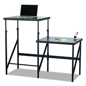 Safco Products 1956WL Sit/Stand Bi-Level Desk, Walnut/Natural