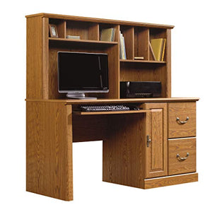 "Sauder 401354 Orchard Hills Computer Desk with Hutch, L: 58.74"" x D: 23.47"" x H: 57.24"", Carolina Oak finish"