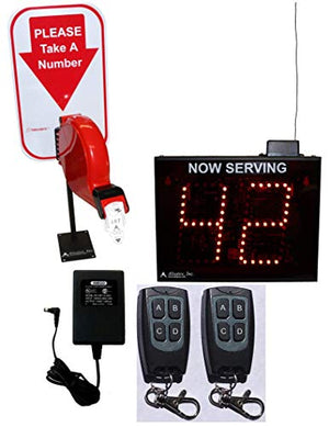 2-Digit Wireless Take-A-Number System with Counter Top Dispenser