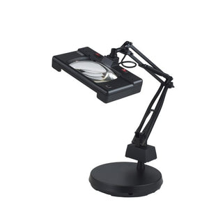 "Electrix 7452 BLACK Wide View Magnifier Lamp, Fluorescent, 3-Diopter, Weighted Base Mounting, 30"" Reach, 26W, 1720 Raw Lumens"