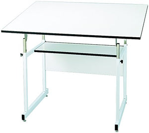 "Alvin WMJ48-4-XB WorkMaster Jr. Table, White Steel Base/White Top 36"" x 48"", Warp-Free Melamine Board, Angle Adjusts from Horizontal 0° to 35°; Height Adjusts 29"" to 44"" in Horizontal Position"