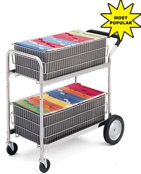 Charnstrom 2 Removable File Baskets Mail Cart (M141)
