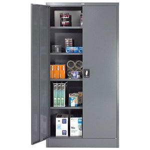 "Unassembled Steel Storage Cabinet Recessed Handle 36""W x 18""D x 72""H, Gray"