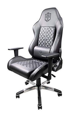 GT Throne, Immersive Gaming Chair, Vibrating Computer and Console Chair, Racing Style High-Back with Lumber Support and Headrest (Black on Black)