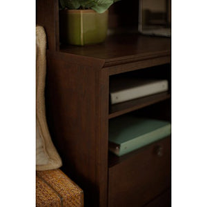 Bush Furniture Buena Vista L Shaped Desk with 6 Cube Bookcase in Madison Cherry
