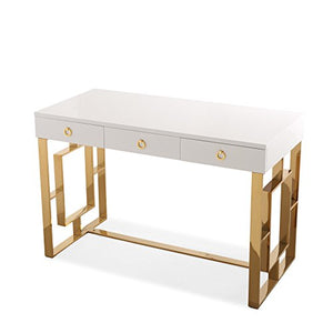 Tov Furniture Audrey Collection Lacquer, 3 Drawer Desk, White