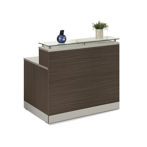 "Esquire Glass Top Reception Desk 48""W x 32""D Driftwood Laminate/Silver Laminate Desktop Kickplate and Accents/Glass Top"