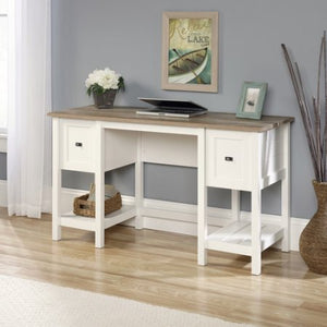 Elegant Work Computer Wood Desk with Two Drawers and Open Storage Space, Soft White Finish, Rectangle Shape, Study Desk, Ideal for Living Room, Bedroom,Home Office,Indoor Furniture, BONUS E-book