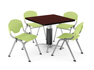 OFM PKG-BRK-022-0018 Breakroom Package, Mahogany Table/Lime Green Chair