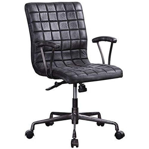 ACME Furniture 92557 Barack Executive Office Chair Vintage Black Top Grain Leather and Aluminum