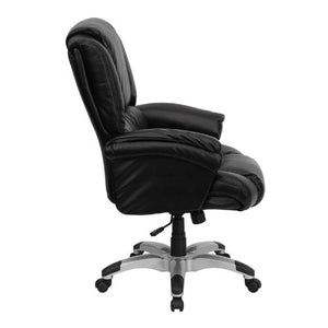 Flash Furniture High Back Black Leather OverStuffed Executive Swivel Chair with Fully Upholstered Arms