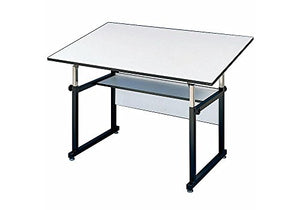"WorkMaster Junior Four-Post Drafting Table with Black Base White Top/Black Base Dimensions: 48""W x 36""D x 29-44""H Weight: 80 lbs"