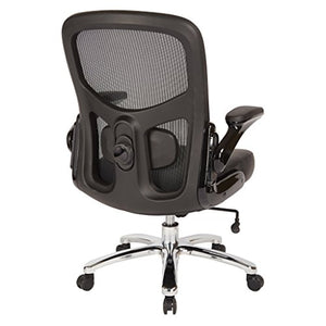 Office Star Big and Tall Mesh Back and Padded Bonded Leather Seat Executive Chair with Adjustable Lumbar Support, Adjustable Flip Arms, and Chrome Accents, Black
