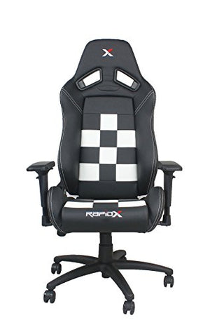 Finish Line White on Black Checkered Flag Pattern Gaming and Lifestyle Chair by RapidX