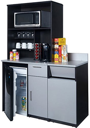 "Breaktime 3 Piece Group Model 2135 Break Room Lunch Room Combo""Ready-To-Install/Ready-To-Use"", Color Espresso/Grey Metallic"