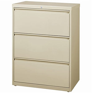 "Hirsh HL8000 Series 36"" Wide 3 Drawer Lateral File Cabinet in Putty"