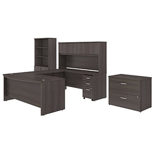 Studio C 72W x 36D U Shaped Desk with Hutch, Bookcase and File Cabinets in Storm Gray