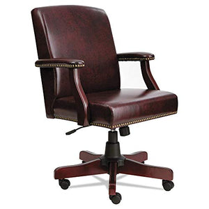 Alera ALETD4236 Traditional Series Mid-Back Chair, Mahogany Finish/Oxblood Vinyl