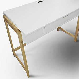 Neorustic Smart Desk with USB Ports, Solid American Maple Legs