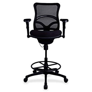 "Lorell 20992 Mesh Back Sitting Stool, 49.9"" x 28.1"" x 26.4"", Black"