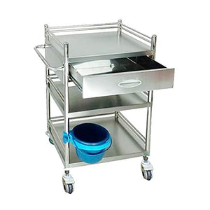 3 Layers Stainless Steel Medical Instrument Trolley, Beauty Salon Tool Carts, Surgical Dressing Changer Vehicles with Drawer, 50×40×86cm