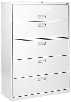 "Sandusky Lee LF6A365-22 600 Series 5 Drawer Lateral File Cabinet, 19.25"" Depth x 66.375"" Height x 36"" Width, White"