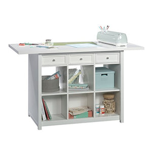 "Sauder 421420 Craft Pro Series Work Table, L: 60.00"" x W: 30.00"" x H: 35.98"", White finish"