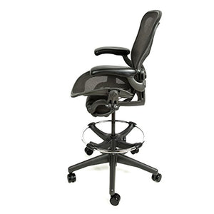 Herman Miller Aeron Drafting Stool Size B with After Market Drafting Ring