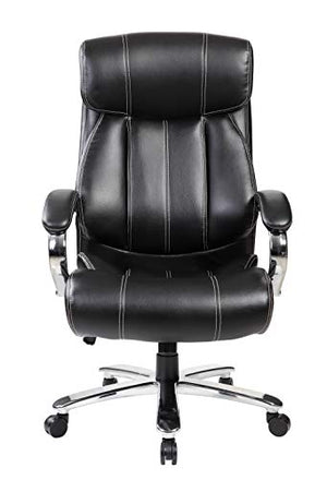 United Office Chair 9352BR 9352Bk High Back Leather Big and Tall 400 LBS Executive Swivel Office Computer Desk Chair (Black)