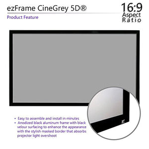 "Elite Screens ezFrame CineGrey 5D, 135"" Diagonal 16:9, 8K 4K Ultra HD Ready Ceiling Light Rejecting and Ambient Light Rejecting Fixed Frame Projector Screen, CineGrey 5D Projection Material, R135DHD5"