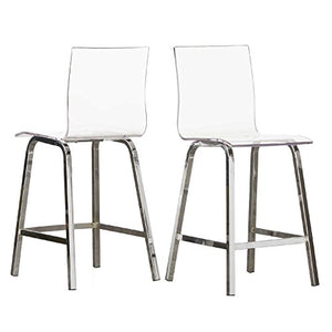 "Inspire Q Bold Chrome 24"" Miles Clear Acrylic Swivel High Back Bar Stools with Back (Set of 2) (Chrome, 24 Inches)"