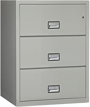 Phoenix Lateral 31 inch 3-Drawer Fireproof File Cabinet with Water Seal - Light Gray