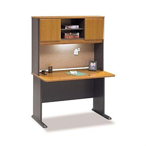 "Bush Business Series A 48"" Computer Desk with Hutch in Natural Cherry"