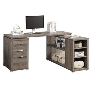 "Monarch 60"" Contemporary L Shaped Corner Computer Desk with Drawers, Dark Taupe (2 Pack)"