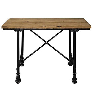 Modway Raise Industrial Farmhouse Pine Wood and Steel Industrial Office Desk In Brown