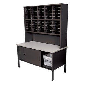 50 Adjustable Slot Literature Organizer with Riser and Cabinet Color: Black Textured Steel/Gray Laminate Surface