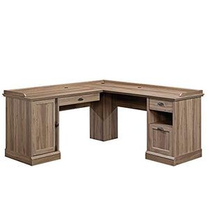 "Sauder 418270 Barrister Lane L-Desk, L: 68.90"" x W: 68.90"" x H: 31.85"", Salt Oak finish"
